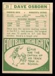 1968 Topps #29   Dave Osborn Back Thumbnail