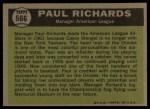 1961 Topps #566  All-Star  -  Paul Richards Back Thumbnail