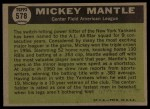 1961 Topps #578  All-Star  -  Mickey Mantle Back Thumbnail