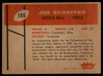 1960 Fleer #105  Joe Schaffer  Back Thumbnail