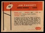 1960 Fleer #40  Jim Padgett  Back Thumbnail