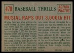 1959 Topps #470  Musial Raps Out 3000th Hit  -  Stan Musial Back Thumbnail