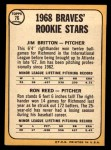 1968 Topps #76   -  Ron Reed / Jim Britton Braves Rookies Back Thumbnail