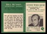 1966 Philadelphia #101   Bill Munson Back Thumbnail