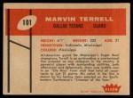 1960 Fleer #101  Marvin Terrell  Back Thumbnail