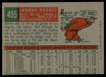 1959 Topps #495  Johnny Podres  Back Thumbnail