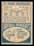 1968 Topps #135   Tucker Frederickson Back Thumbnail