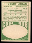 1968 Topps #4   Obert Logan Back Thumbnail