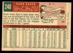 1959 Topps #240   Hank Bauer Back Thumbnail