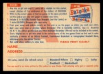 1956 Topps #0   CA Contest Card Nov 25 - Bears vs. Giants Back Thumbnail