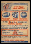 1956 Topps #0   CA Contest Card Nov 25 - Bears vs. Giants Front Thumbnail