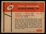 1960 Fleer #128   Paul Maguire Back Thumbnail
