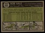 1961 Topps #532   Bob Hale Back Thumbnail