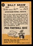 1967 Topps #28   Billy Shaw Back Thumbnail