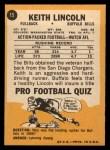 1967 Topps #15  Keith Lincoln  Back Thumbnail