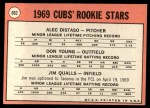 1969 #602 ^COR^  -  Alec Distaso / Don Young / Jim Qualls Cubs Rookies Back Thumbnail