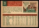 1959 Topps #21  Connie Johnson  Back Thumbnail