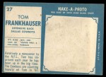 1961 Topps #27  Tom Frankhauser  Back Thumbnail