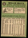 1967 Topps #200  Willie Mays  Back Thumbnail