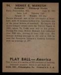 1939 Play Ball #94  Heinie Manush  Back Thumbnail