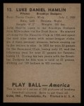 1939 Play Ball #13  Luke Hamlin  Back Thumbnail