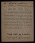 1939 Play Ball #46   Monty Arnovich Back Thumbnail