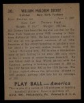 1939 Play Ball #30  Bill Dickey  Back Thumbnail