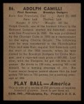 1939 Play Ball #86   Dolph Camilli Back Thumbnail