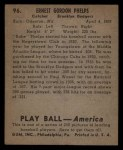 1939 Play Ball #96  Babe Phelps  Back Thumbnail