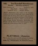 1939 Play Ball #142  Ira Hutchinson  Back Thumbnail