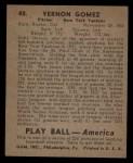 1939 Play Ball #48  Lefty Gomez  Back Thumbnail