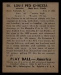1939 Play Ball #58   Louis Chiozza Back Thumbnail