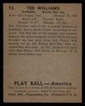 1939 Play Ball #92   Ted Williams Back Thumbnail