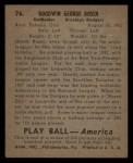 1939 Play Ball #76   Goody Rosen Back Thumbnail