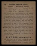 1939 Play Ball #39   Rick Ferrell Back Thumbnail