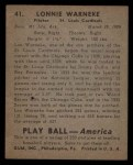 1939 Play Ball #41  Lonnie Warneke  Back Thumbnail