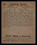 1939 Play Ball #88  Charlie Keller  Back Thumbnail