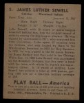 1939 Play Ball #5  Luke Sewell  Back Thumbnail