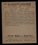 1939 Play Ball #81   Babe Dahlgren Back Thumbnail