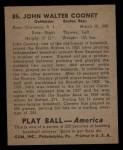 1939 Play Ball #85   John Cooney Back Thumbnail