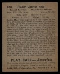 1939 Play Ball #100  Buddy Myer  Back Thumbnail