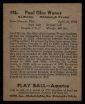 1939 Play Ball #112   Paul Waner Back Thumbnail