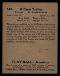 1939 Play Ball #148   Bill Trotter Back Thumbnail