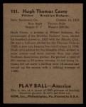 1939 Play Ball #151  Hugh Casey  Back Thumbnail
