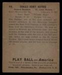 1939 Play Ball #44   Don Heffner Back Thumbnail