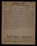 1939 Play Ball #45  Pinky May  Back Thumbnail