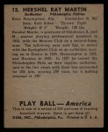 1939 Play Ball #12  Hersh Martin  Back Thumbnail