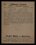 1939 Play Ball #59   Ken Chase Back Thumbnail