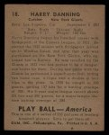 1939 Play Ball #18  Harry Danning  Back Thumbnail