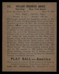 1939 Play Ball #35   Billy Jurges Back Thumbnail